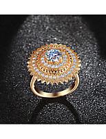 Damen Bandringe Ring Kubikzirkonia Modisch Luxus-Schmuck Elegant Kubikzirkonia Titanstahl Runde Form Blumenform Schmuck FürHochzeit Party