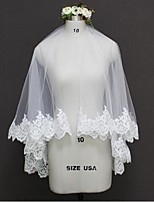 Wedding Veil Two-tier Elbow Veils Fingertip Veils Lace Applique Edge Tulle Lace
