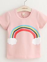 Casual/Daily Sports School Color Block Print Tee,Cotton Summer All Seasons Spring Short Sleeve Regular