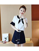 Women's Casual/Daily Cute Summer Blouse Skirt Suits,Solid Round Neck Short Sleeve Embroidered Micro-elastic