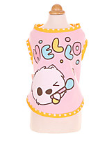 Dog Shirt / T-Shirt Dog Clothes Cute Cartoon Blushing Pink Red