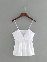 T-shirt Da donna Sensuale Semplice Moda città Estate,Tinta unita Con bretelline Cotone Senza maniche Sottile Medio spessore