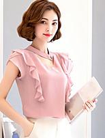 Для женщин На каждый день Блуза V-образный вырез,Простое Однотонный С короткими рукавами,Полиэстер