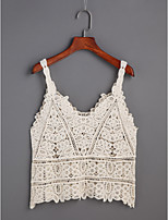 Women's Daily Casual Sexy Tank Top,Solid Lace Strap Sleeveless Cotton