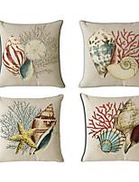 Set Of 4 Mediterranean Style Conch Pillow Cover Classic Cotton/Linen Pillow Case
