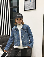 Women's Going out Party/Cocktail Vintage Cute Spring Denim Jacket,Solid Stand Long Sleeve Regular Others