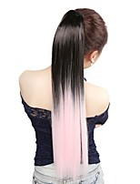 Neitsi 1Pcs 22'' 115g Striaght Wrap Around Ponytail Hair Extensions Synthetic Ombre T-Light Pink#