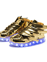 LED's Boys' Sneakers Light Up Shoes Synthetic Fall Winter Casual Outdoor Party & Evening Light Up Shoes LED Wing Hook & Loop Flat Heel Black Gold