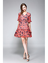 NEDO Women's Going out Casual/Daily Holiday Sexy Vintage Street chic A Line Chiffon DressFloral V Neck Above Knee Short Sleeve Polyester