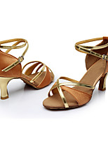 Women's Latin Satin Leatherette Sandals Indoor Heel Brown Customizable