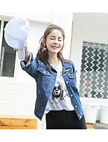 Women's Going out Street chic Spring Fall Denim Jacket,Solid Square Neck Long Sleeve Long Linen Tassel