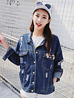 Women's Going out Cute Spring Denim Jacket,Solid Stand Long Sleeve Regular Cotton