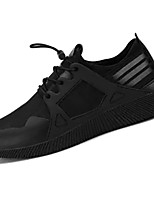 Men's Athletic Shoes Comfort PU Spring Fall Athletic Outdoor Running Comfort Lace-up Flat Heel Black Gray Black/Red Flat