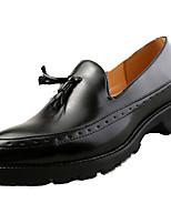 Для мужчин Туфли на шнуровке Гладиаторы Полиуретан Весна Осень Для офиса Повседневный С кисточками На плоской подошве Черный Серебряный