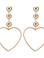Hot Fashion Simple Elegant Charm Plated Gold/Silver Hollow Heart Pendant Earrings For Women Dangle Long Earrings Jewelry Accessories Gift Bijouterie
