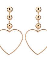 Mulheres Brincos Compridos JóiasCircular Pingente Coração Euramerican Estilo simples Formais Clássico Elegant Moda Estilo Boêmio