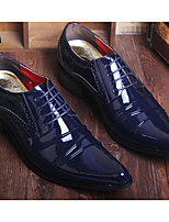 Men's Oxfords Comfort Synthetic Microfiber PU Patent Leather Spring Casual Comfort Black Ruby Blue Flat