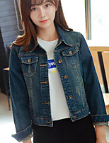 Women's Daily Casual Contemporary Fall Denim Jacket,Solid Shirt Collar Long Sleeve Short Cotton