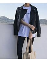 Women's Casual/Daily Simple Fall Denim Jacket,Solid V Neck Long Sleeve Short Calfskin