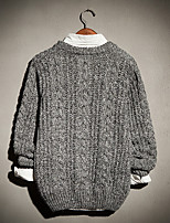 Men's Daily Short Pullover,Solid Round Neck Long Sleeve Cotton Spring Fall Medium Micro-elastic
