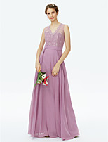 2017 LAN TING BRIDE Floor-length V-neck Bridesmaid Dress - Beautiful Back Sleeveless Chiffon Lace