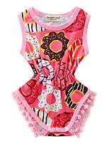 Baby Floral Spot One-PiecesCotton Summer Sleeveless Piecemeal Girls Cotton Rompers Headband Set
