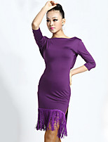 Latin Dance Dresses Women's Performance Milk Fiber Tassel(s) 1 Piece Half Sleeve Natural Dresses