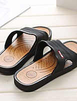 Men's Slippers & Flip-Flops Comfort PU Spring Casual Brown Black Flat