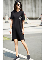 AMIIWomen's Casual/Daily Loose DressSolid Print Word/Phrase Round Neck Above Knee Short Sleeve Cotton Summer Mid Rise Micro-elastic Thin