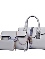 Women Bag Sets PU All Seasons Formal Sports Casual Barrel Clasp Lock Brown Gray Red Black