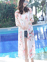 Women's Beach Cute Summer Blouse,Floral Shirt Collar ½ Length Sleeve Others Sheer