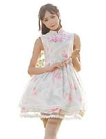 Drakter Wa Lolita Vintage Inspireret Cosplay Lolita-kjoler Vintage Ærmeløs Kort / Mini Til