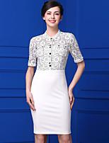 Baoyan Women's Casual/Daily Simple Sheath DressJacquard Stand Knee-length  Length Sleeve Lace Summer Mid Rise Micro-elastic Medium