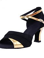 Women's Latin PU Sandals Heels Indoor Buckle Low Heel Ruby Silver Gold 2