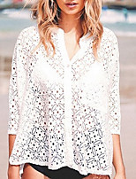 Women's Beach Cute Fall Shirt,Solid V Neck ¾ Sleeve Polyester Medium