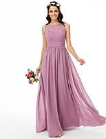 2017 LAN TING BRIDE Floor-length Jewel Bridesmaid Dress - Open Back Sleeveless Chiffon