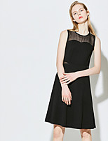 VINGWomen's Casual A Line DressSolid Round Neck Knee-length Sleeveless Others Summer Mid Rise Micro-elastic Thin
