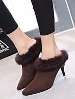 Women's Boots Comfort PU Suede Spring Casual Dark Brown Black 2in-2 3/4in
