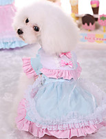 Dog Dress Dog Clothes Cute Casual/Daily Princess Light Blue Blushing Pink