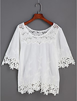 Women's Daily Casual Going out Cute Shirt,Solid Round Neck Half Sleeve Cotton Polyester Lace