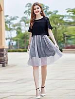 Mujer Sencillo Adorable Casual/Diario Verano Blusa Vestidos Trajes,Escote Redondo Un Color Manga Corta