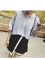 Women's Casual/Daily Simple Shirt,Solid Stand Short Sleeve Cotton