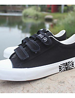 Men's Sneakers Comfort Canvas Spring Casual White Black Flat