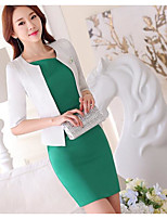 Women's Daily Simple Spring Shirt Skirt Suits,Solid Round Neck ¾ Sleeve Micro-elastic