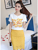 Women's Going out Casual/Daily Modern/Comtemporary Summer T-shirt Skirt Suits,Characters Round Neck Short Sleeve