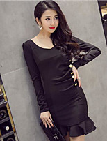 Women's Going out Bodycon Dress,Solid Round Neck Mini Long Sleeve Silk Summer High Rise Micro-elastic Thin
