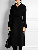 Damen Solide Kleid-Gurt Alltag Normal Bett Blazer,V-Ausschnitt Herbst Winter Lange Ärmel Lang Acryl
