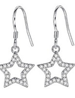 Silver Jewelry Drop Earrings Korean Style Delicate Elegant Classic Star Rhinestone Lady Daily Party Movie Gift