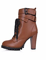 Women's Boots PU Fall Winter Black Brown Flat