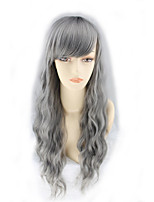 Harajuku Cosplay Wigs Grandma Gray Smoke Gray Corn Wool Long Hair Wigs 26inch